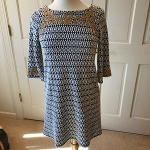 THML Blue & white dress w/ gold embroidery size S